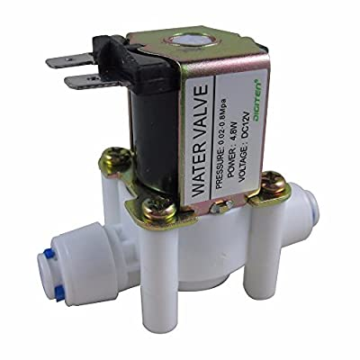 "DIGITEN DC 12V 1/4"" Inlet Feed Water Solenoid Valve Quick Connect N/C normally Closed by DIGITEN"