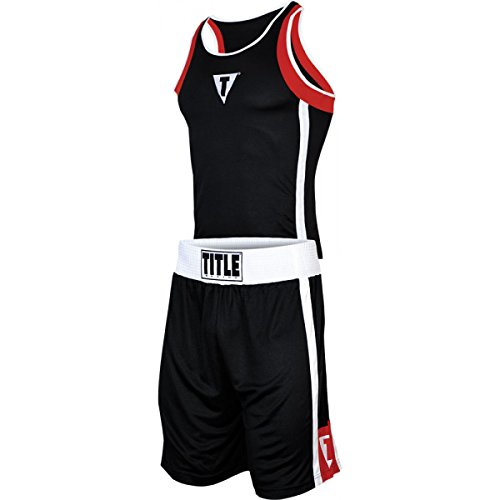 Title Aerovent Elite Amateur Boxing Set 4, Black/Red, Small