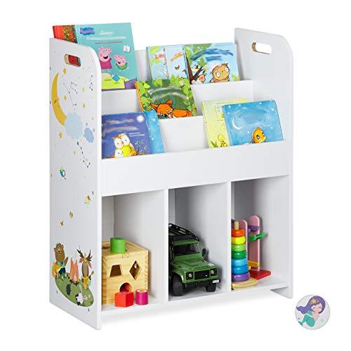 Relaxdays Estantería Infantil, Juguetes y Libros, diseño de Hoguera, 75 x 62 x 29 cm, Color Blanco, 1 Unidad