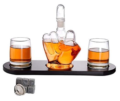 SGSG Decantador de Whisky de Dedo Medio con 2 Vasos, Decantador de Vino de Vidrio de borosilicato, Recipiente de Vino con Forma de Dedo Medio, Botella de Vino Artesanal de borosilicato