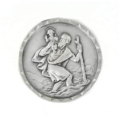 Imán con medalla de San Cristóbal de plata fabricado en Francia