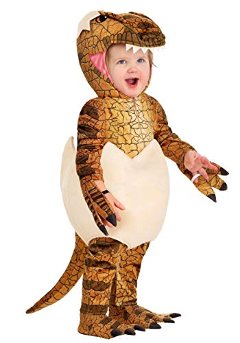 Infant Hatching Raptor Costume Dinosaur Egg Costume for Baby 3/6 Months Brown