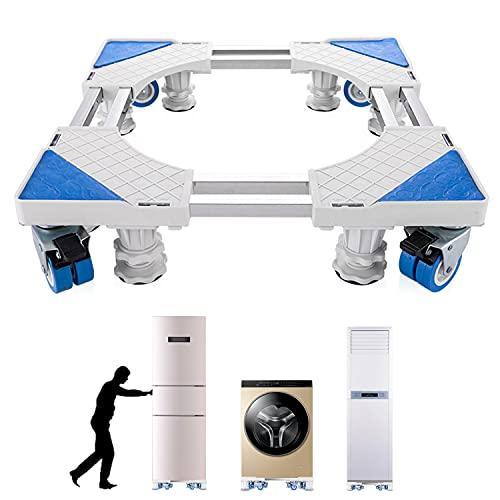 VENK WORLD Waschmaschine Sockel Untergestell für Kühlschrank Verstellbare Sockel für Trockner 8 Metallstützrohre 4 Hebefüße und 4 Gummiräder