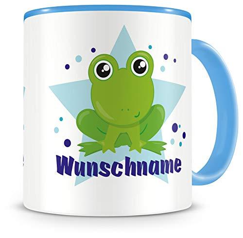 Samunshi® Kindertasse mit Namen Tasse Baby Frosch Personalisierte Tasse mit Namen Kinder Kinderbecher mit Namen Kindergarten blau 300ml