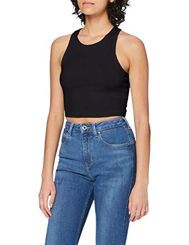 Urban Classics Ladies Cropped Rib Top Camiseta sin Mangas, Negro (Black 7), XS para Mujer