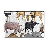 Wdoci Alfombrilla de baño,Safari Animales Salvajes del Continente Africano Camello Avestruz León Jirafa Alfombra de baño 75cm x 45cm