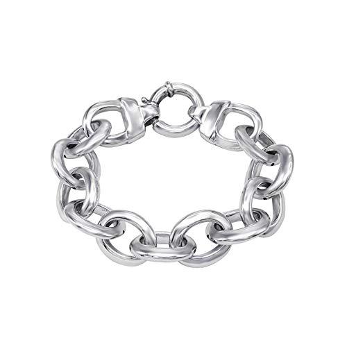 Silverly Pulsera de Mujer Electroformada Plata de Ley .925 Cadena de Bordillo Gruesa Ligera, 21.5 cm