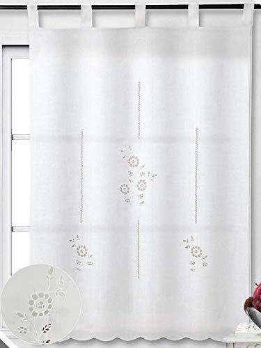 ForenTex Cortinas Cocina 150x150cm Bordadas Florales Decorativos para Ventanas, Polyester, M-1051, M