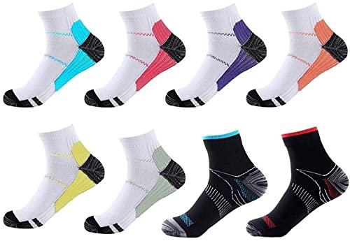 Meowoo Running Kompressionssocken 8 Paare Wandersocken Laufsocken Compression Socks Trekkingsocken für Herren Damen, Geeignet für Fußgröße 34-46 (S/M)