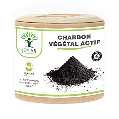Charbon Végétal Actif - Bioptimal - Complément Alimentaire - Ventre Plat Digestion Anti-Ballonnement Gaz - 150 mg de Poudre Active Pure par Gélule - Fabriqué en France - Certifié Ecocert - 60 gélules