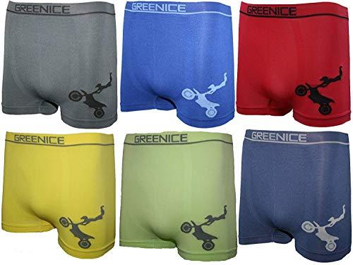 BestSale247 12 Stück Kinder Jungen Boxershorts Unterhosen Kids Unterwäsche Mikrofaser 98 bis 164 (152-164, Motorrad)