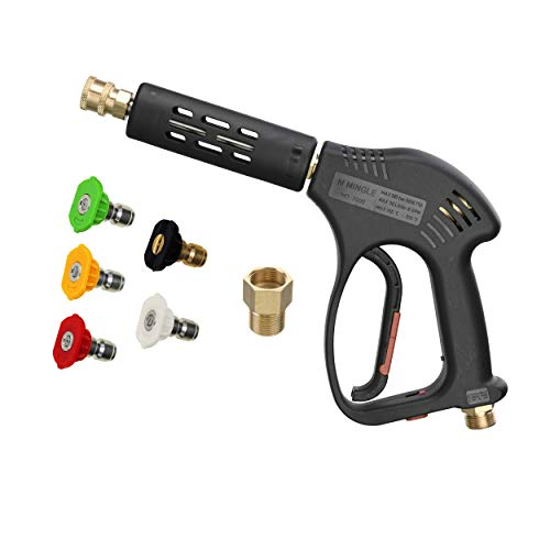 M MINGLE Short High Pressure Washer Gun, 5000 PSI, Replacement for Hot and Cold Water, M22 Fitting, 5 Nozzle Tips