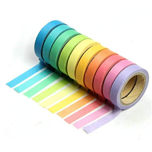 ZARRS Washi Tape,10 Rollos de Cinta Adhesiva Decorativa Masking Tape Set para Scrapbooking DIY Craft 8mm 5M Muticolours