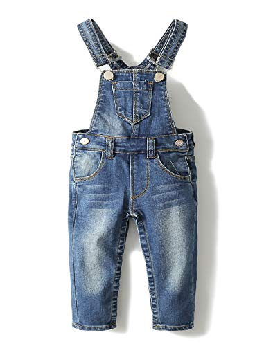Kidscool Baby Adjustable Open Legs Light Blue Big Bibs Jeans Overalls,Blue,6-9 Months