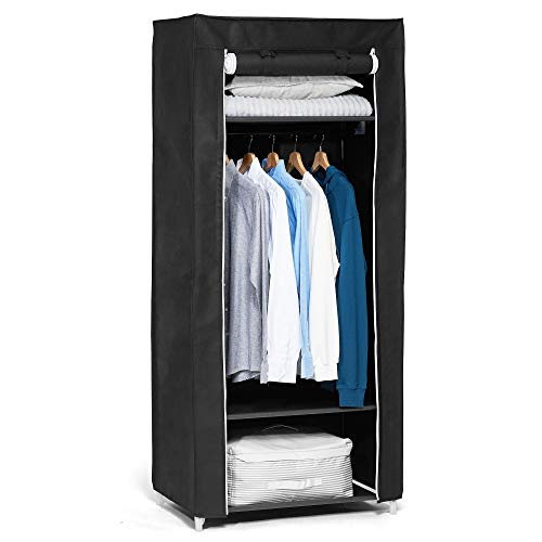 Hododou Portable Wardrobe Single Canvas Wardrobe Cupboard Clothes Storage Organizer with Hanging Rail Foldable Closet for Clothes, Bags, Toys, Shoes, Living Room, Bedroom 160 x 69 x 43CM (Black)