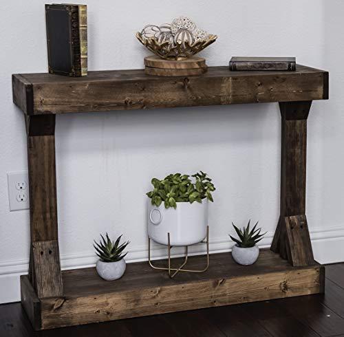 Barb Small Console Table Solid Wood by Del Hutson Designs (Dark Walnut)