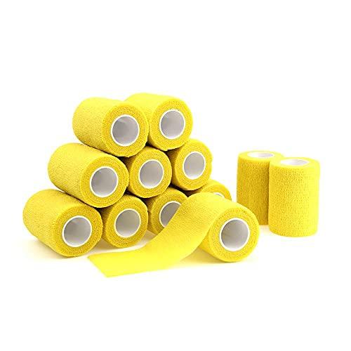 WEARRR 7.5cm * 4.5m 12 Rolls Auto Adhesivo Vendaje Impermeable No Tejido Vendaje Deporte Cinta Atención médica (Color : Yellow)