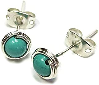 Turquoise & Sterling Silver Wire-Wrapped Post Earrings