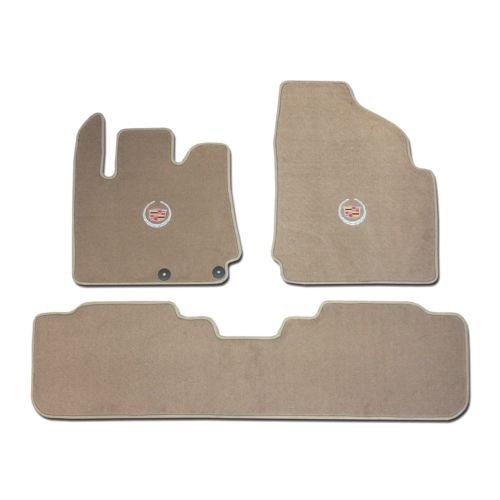Avery's Floor Mats Part Compatible with Cadillac SRX 3 Pc (2 Fronts / Rear Runner) Tan (Beige) Custom Fit Carpet Floor Mat Set with Licensed Cadillac Crest Logo on fronts - Fits 2010 11 12 13 14 15
