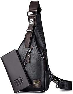 Shoulder Leather Bag with Purse for Men