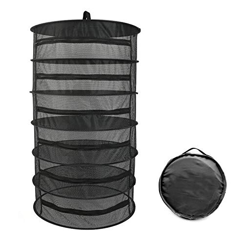 """Herb Drying Rack 6 Layer Collapsible Black Mesh Hanging Drying Rack with Zipper Opening (40.2"""" x 23.6″)"""
