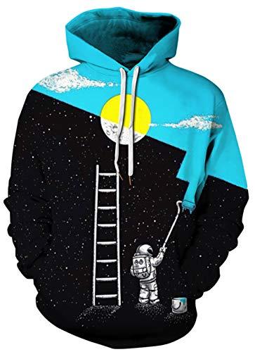 BarbedRose Unisex 3D Digital Print Sweatshirts Hooded Top Galaxy Pattern...