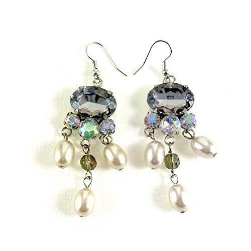 rougecaramel–Bijoux–Pendientes con perla y brillantes–gris