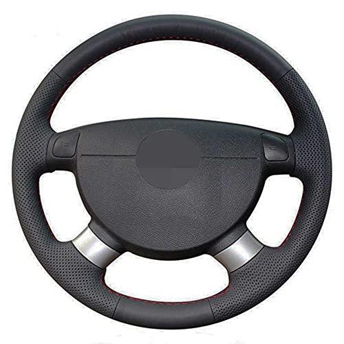 ZIMAwd Cubierta del Volante del Coche de Cuero Genuino Negro Cosido a Mano, para Renault Vel Satis 2005-2001 Trafic 2012 Laguna 2007-2001