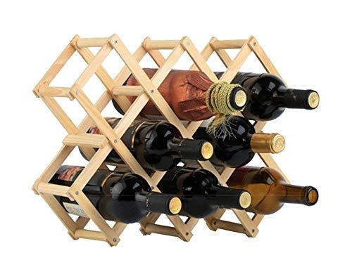 Estante de Vino de Madera Tenedor de 10 Botellas Plegable Libre Casa de Cocina Casa de Cocina Racks de Madera Soporte de Almacenamiento Rústico Encimera decoración Organizador-Madera Natural