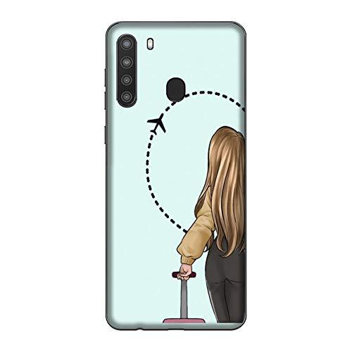 Funda Galaxy A21 Carcasa Compatible para Samsung Galaxy A21 Pareja Enamorados Novio Novia Amor Maleta de Viaje de Medio corazón/Imprimir también en los Lados/Teléfono Duro A presión Antidesliz