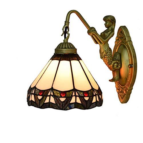DALUXE Tiffany Crystal Lámpara de Pared de 8 Pulgadas Balcón Tiffany Lámpara de Pared Británica Moderna Vidrio Comedor Habitación Dormitorio Bar Bar Club Gang