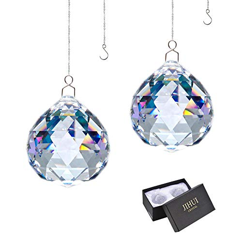 Suncatcher Crystals Ball Prism Window Rainbow Maker with Chain for Easy Hanging 40mm 2 Pack