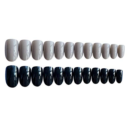 CLOAAE 24pcs / box manicure gray and black fake nails, with adhesive tape wear-resistant removable short jump color full coverage nail cover