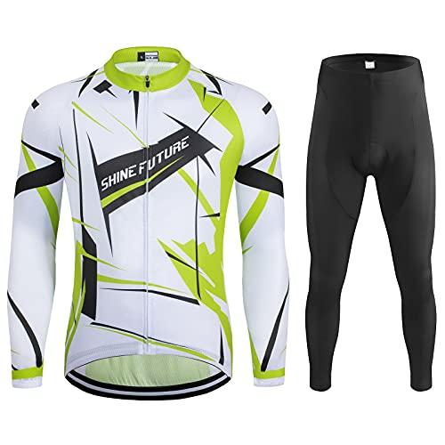 shine future Herren Radtrikot Set Herren Fahrradbekleidung Set Fahrradbekleidung Fahrrad Trikot mit Sitzpolster Atmungsaktiv Schnelltrocknend für Radsport (Weiß und Grün, X-Large)