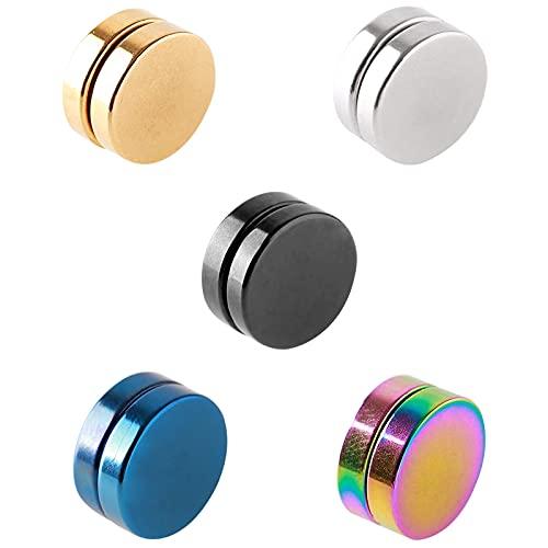 Zeayebsr 5 pezzi di acciaio inossidabile magnetico stallone orecchini per uomini donne con Clip Non Piercing sull'orecchio Falso