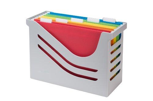 Jalema 2658026997 Re-Solution - Caja para carpetas colgantes (incluye 5 archivos de varios colores, A4), color gris
