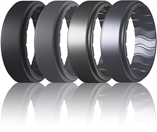 Dookeh Breathable Mens Silicone Wedding Rings, Rubber Ring Bands for Men, Black Blue Camo Engagement Band, Best for Workout, 1-4-7 Pack (Q-Black,Darkgray,Titanium,Castiron, 11)