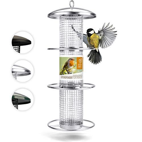 corazón animal salvaje | Comederos para aves de comida de grano, 35 cm, con plazas de acero inoxidable, columna de alimentación para pájaros, lleno de maní [plata]