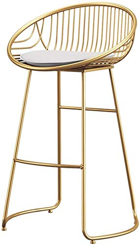 XWYJBD bar stool with Iron High Stool, Golden Bar Chair Nordic Modern Style, High Load-Bearing Paint Process, Wear-Resistant Leather Seat Curved Back Design (Sitting Height: 65cm) J6B8D3