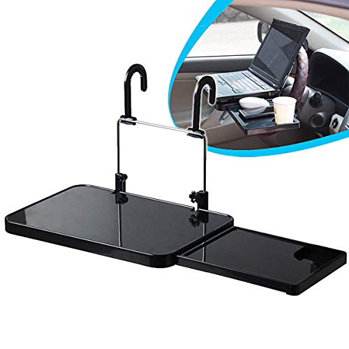 OHMOTOR Multi-functional Steering Wheel Table Folding Car Computer Laptop Tablet Desk Mount Stand Auto Car Backseat Portable Pc Tray Table Car Dining Food Drink Table Cup Holder Black (Car Table)