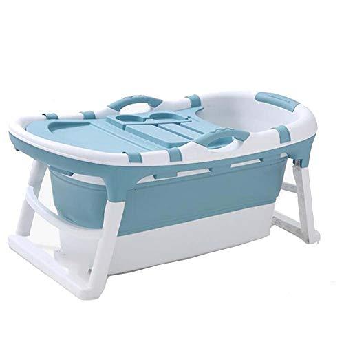 FCDWHJ Badewanne für Babys, Ergonomische Babywanne rutschfest klappbar,mit Stöpsel und Anti-Rutsch-Matte, Kunststoff,Blau
