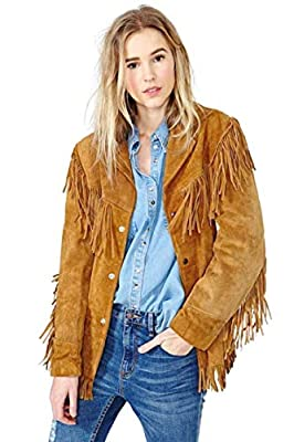 Ladies Jacket Western Suede Leather Cow-Lady Native American Women Fringe Coats (4XL) Golden