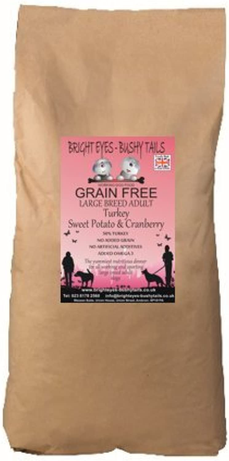 BRIGHT EYESBUSHY TAILS  1 LARGE BREED Adult Grain Free Turkey Sweet Potato & Cranberry Dog Food 15Kg. Vets approved for dogs with sensitive digestion, wheat & grain intolerance or prone to allergies