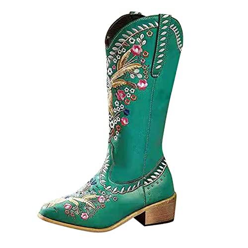 Geilisungren Halbhohe Stiefel Schwarz Damen Leder Cowboystiefel Westernstiefel Stickereien Biker Boots rutschfest boots Schlupfstiefel Retro-Stiefel Western Stiefeletten Leder Reitstiefel