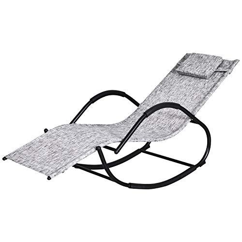 Outsunny Patio Textilene Rocking Lounge Chair Zero Gravity Rocker Outdoor Patio Garden Recliner Seat w/Padded Pillow - Grey
