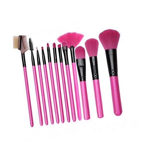 12 PCS Portable pinceaux de maquillage Ensemble de maquillage Fondation brosse professionnelle avec l'outil Tube Container Rose Rouge