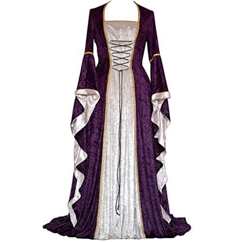 Damen Mittelalterkleid Vintage Langarm Mittelalter Party Viktorianischen Königin Kleider Cosplay Kostüm Gothic Jahrgang Prinzessin Renaissance Bodenlänge Maxikleid für Brautjunfer Hochzeit Karneval