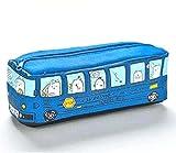 Novedad Animales Forma de autobús escolar Lienzo Estuche para lápices Papelería Organizador de almacenamiento Bolsa Material de oficina escolar Azul