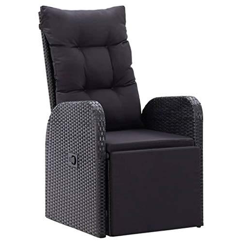 vidaXL Garten Liegestuhl mit Auflage Gartenstuhl Relaxstuhl Sessel Sonnenliege Hochlehner Stuhl Gartensessel Gartenmöbel Poly Rattan Schwarz