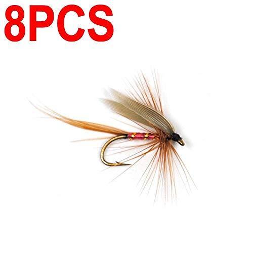 ZZB-Köder, 8 Stück, künstliche Flügel, zum Fliegenfischen, Forellenangeln, Fliegen 14# Widerhaken Haken (Farbe: 8 Stück)